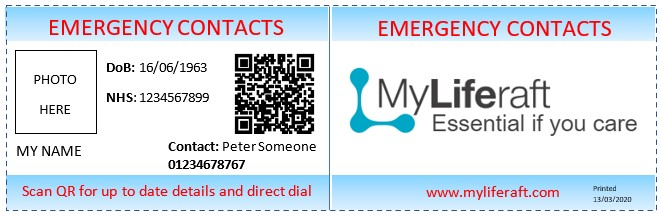 image of a sample emergency card and link to MyLiferaft Emergency Card sign up page